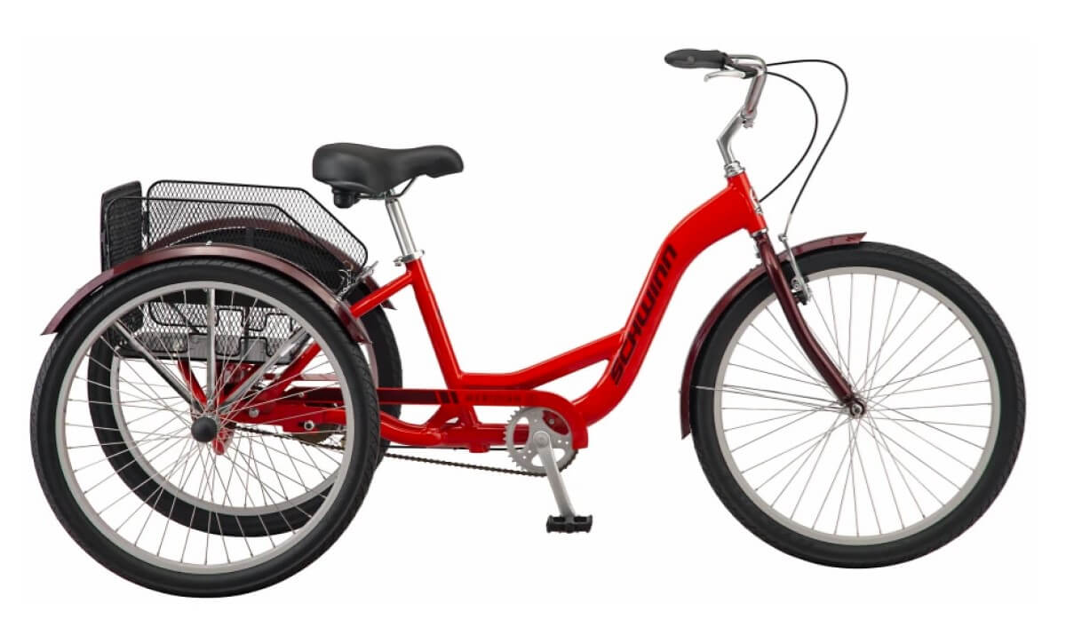 Red Schwinn Meridian adult tricycle new 2021 model with improved rear basket